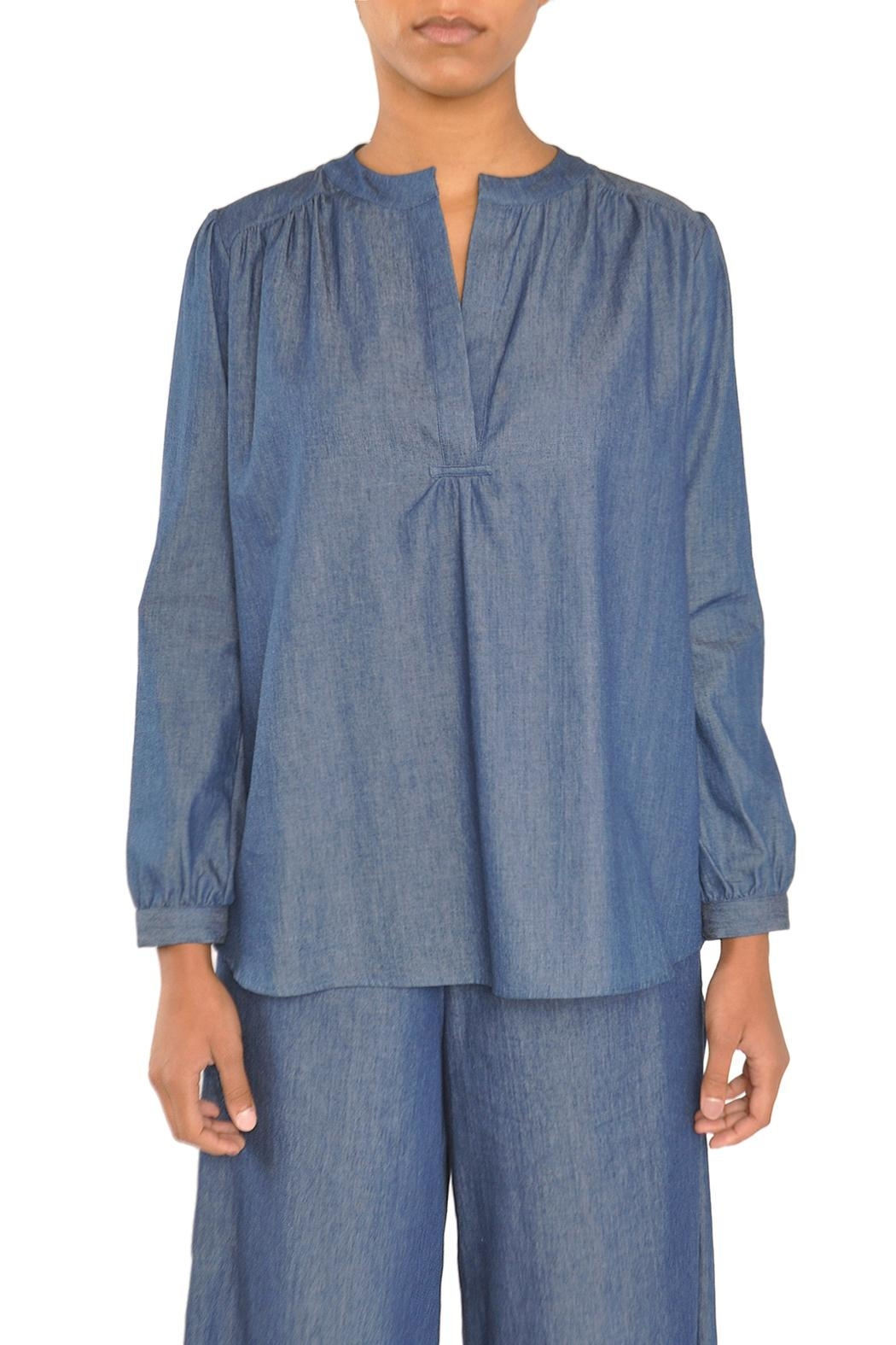 TYLHO Chambray Henley Shirt - Front Cropped Image
