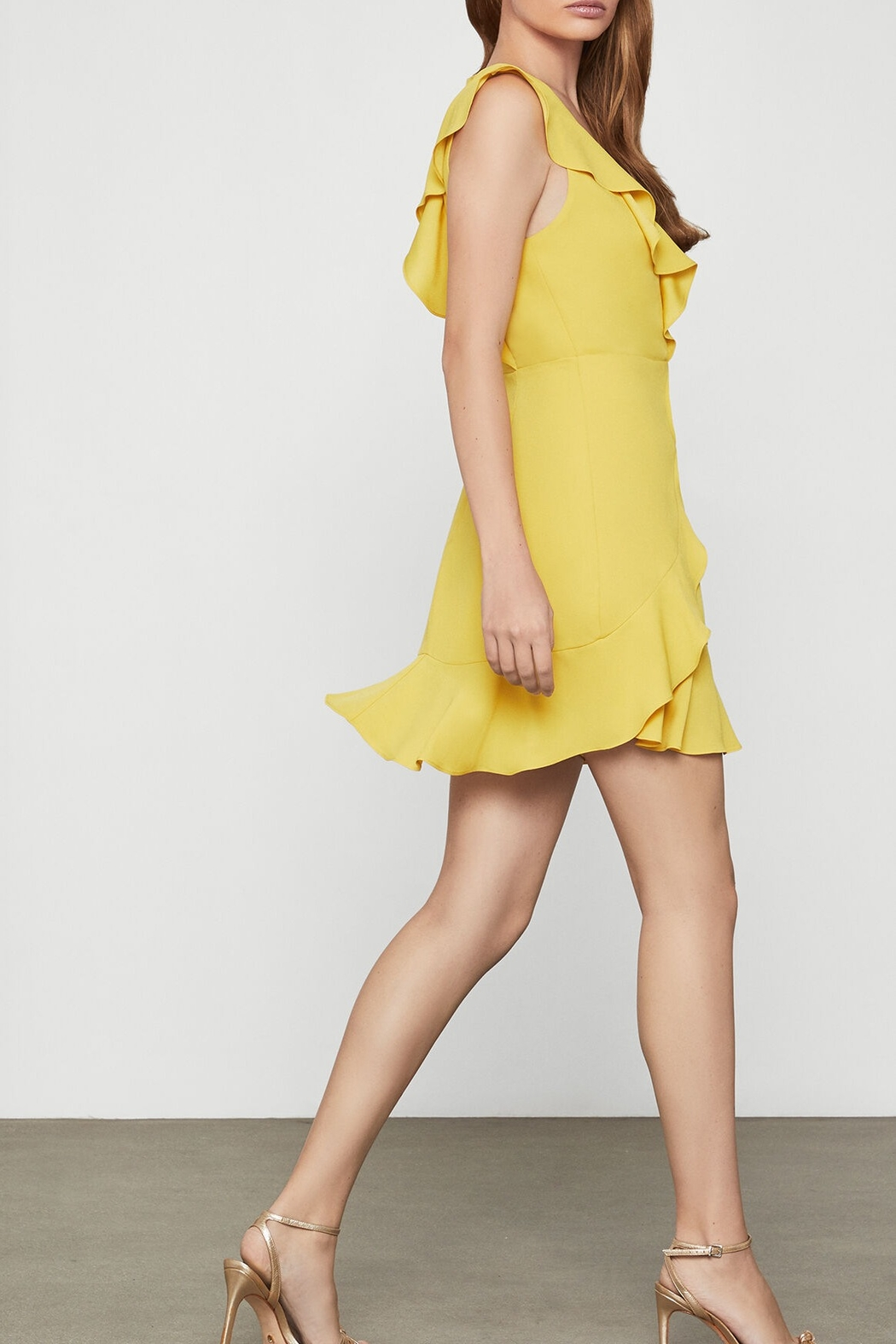 BCBG MAXAZRIA Tyrah Sleeveless Ruffle Dress - Side Cropped Image