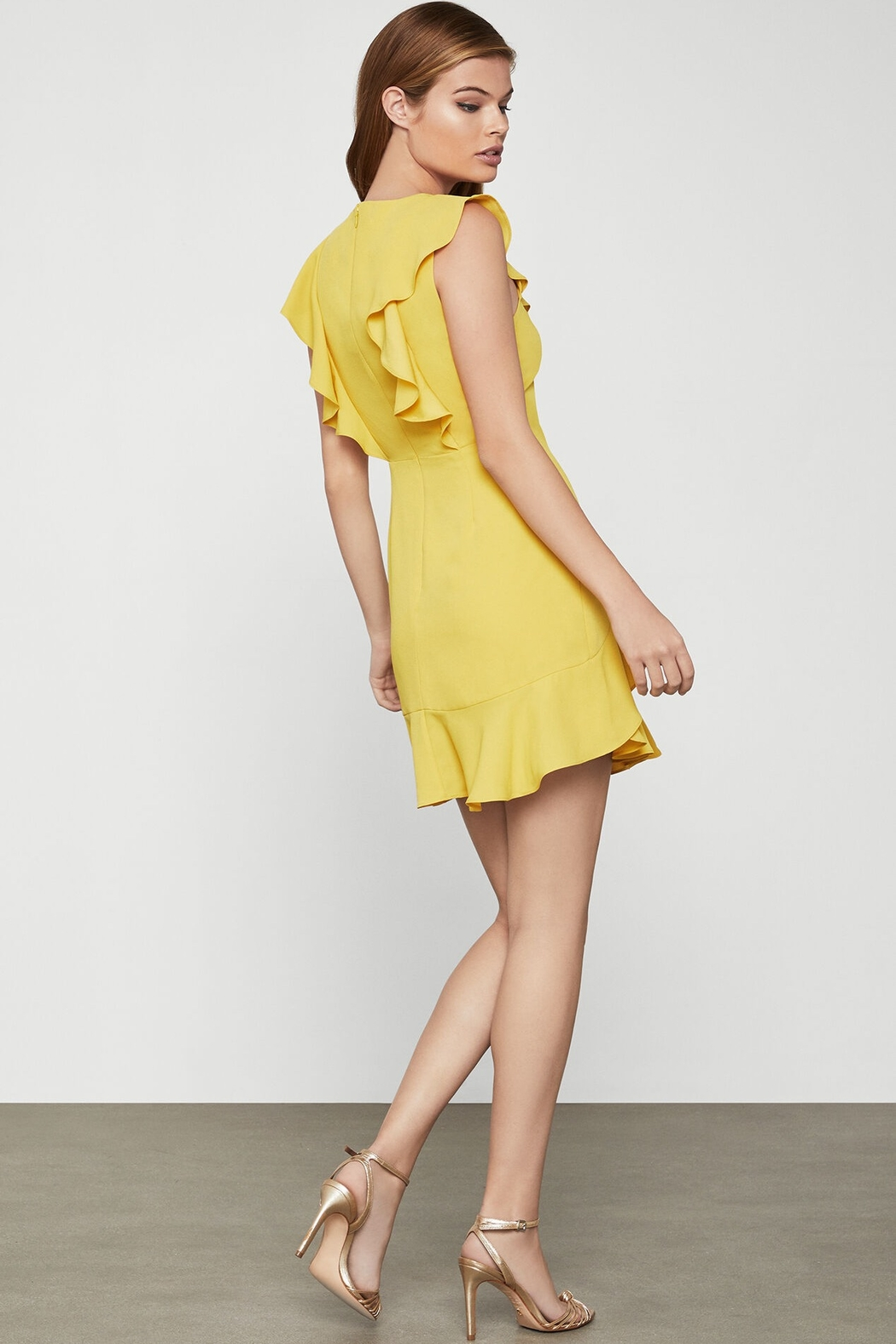 BCBG MAXAZRIA Tyrah Sleeveless Ruffle Dress - Front Full Image