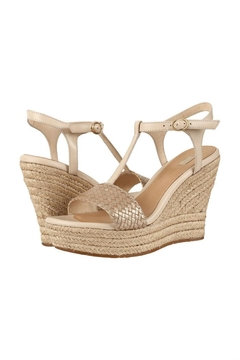 Shoptiques Product: Champagne Heeled Wedge Sandals