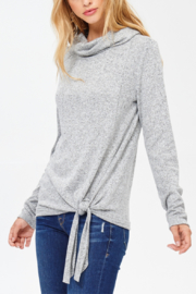 White Birch  Ultra Soft Cowl Neck Knot Detail Sweater - Product Mini Image