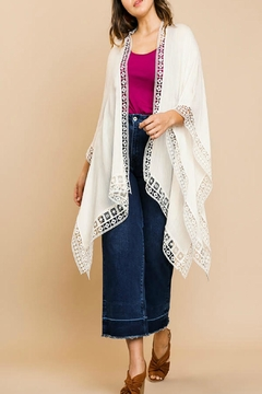 UMG PLUS Crochet Sharkbite-Hem Kimono - Product List Image