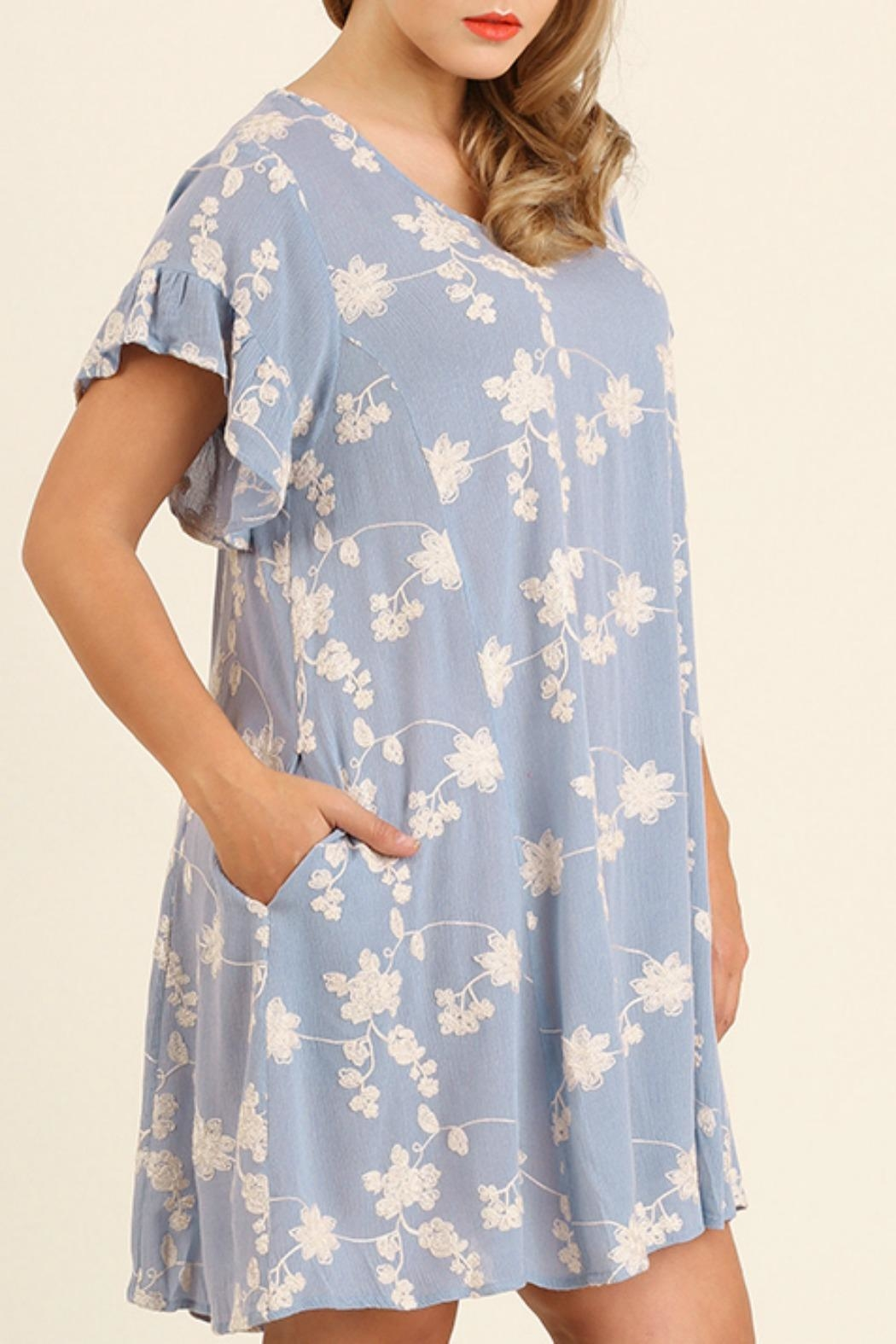 UMG PLUS Embroidery A-Line Dress - Front Full Image