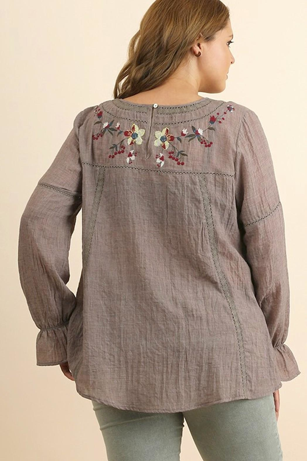 UMG PLUS Floral Embroidered Top - Front Full Image