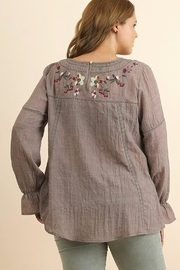 UMG PLUS Floral Embroidered Top - Front full body