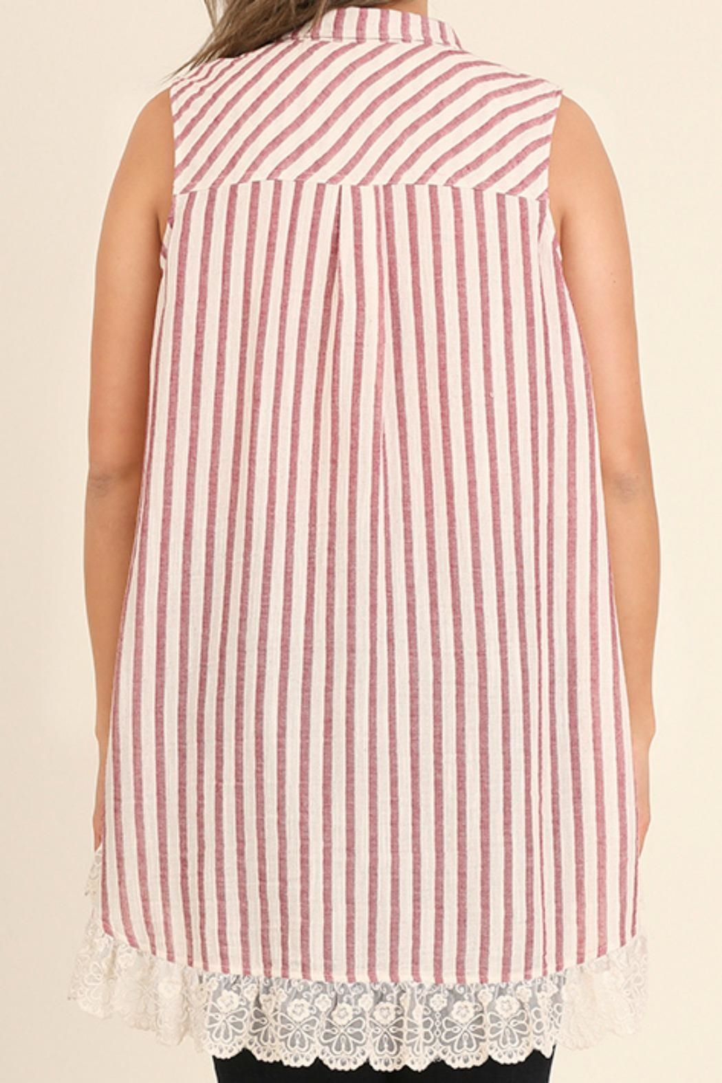 UMG PLUS Striped Collared Tunic - Side Cropped Image