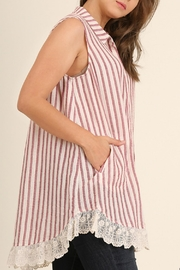 UMG PLUS Striped Collared Tunic - Front full body