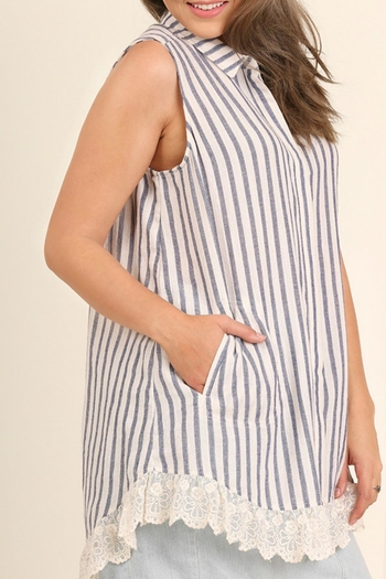 UMG PLUS Striped Collared Tunic - Main Image
