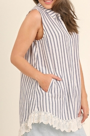 UMG PLUS Striped Collared Tunic - Front cropped