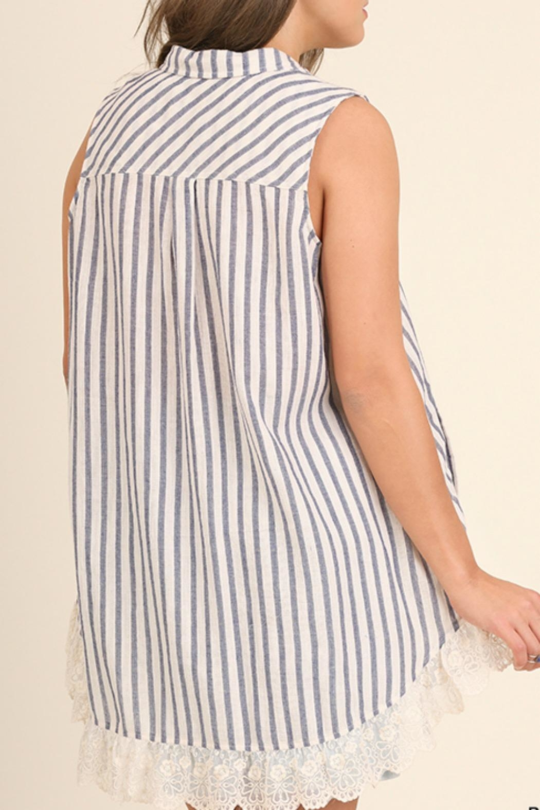 UMG PLUS Striped Collared Tunic - Back Cropped Image