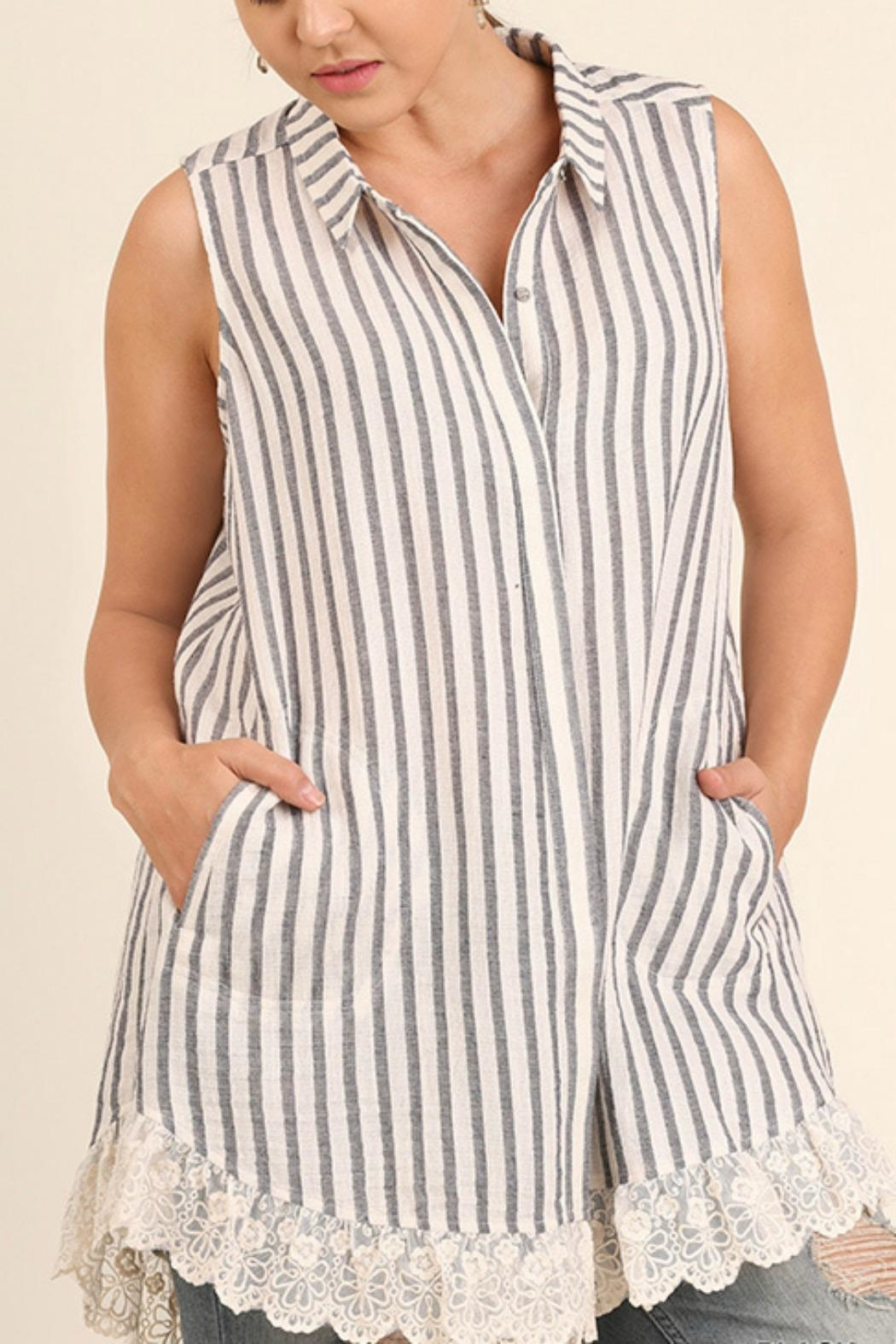 UMG PLUS Striped Collared Tunic - Front Cropped Image