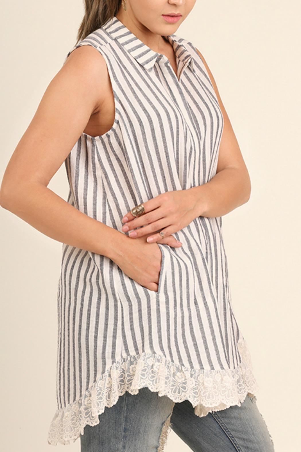 UMG PLUS Striped Collared Tunic - Front Full Image