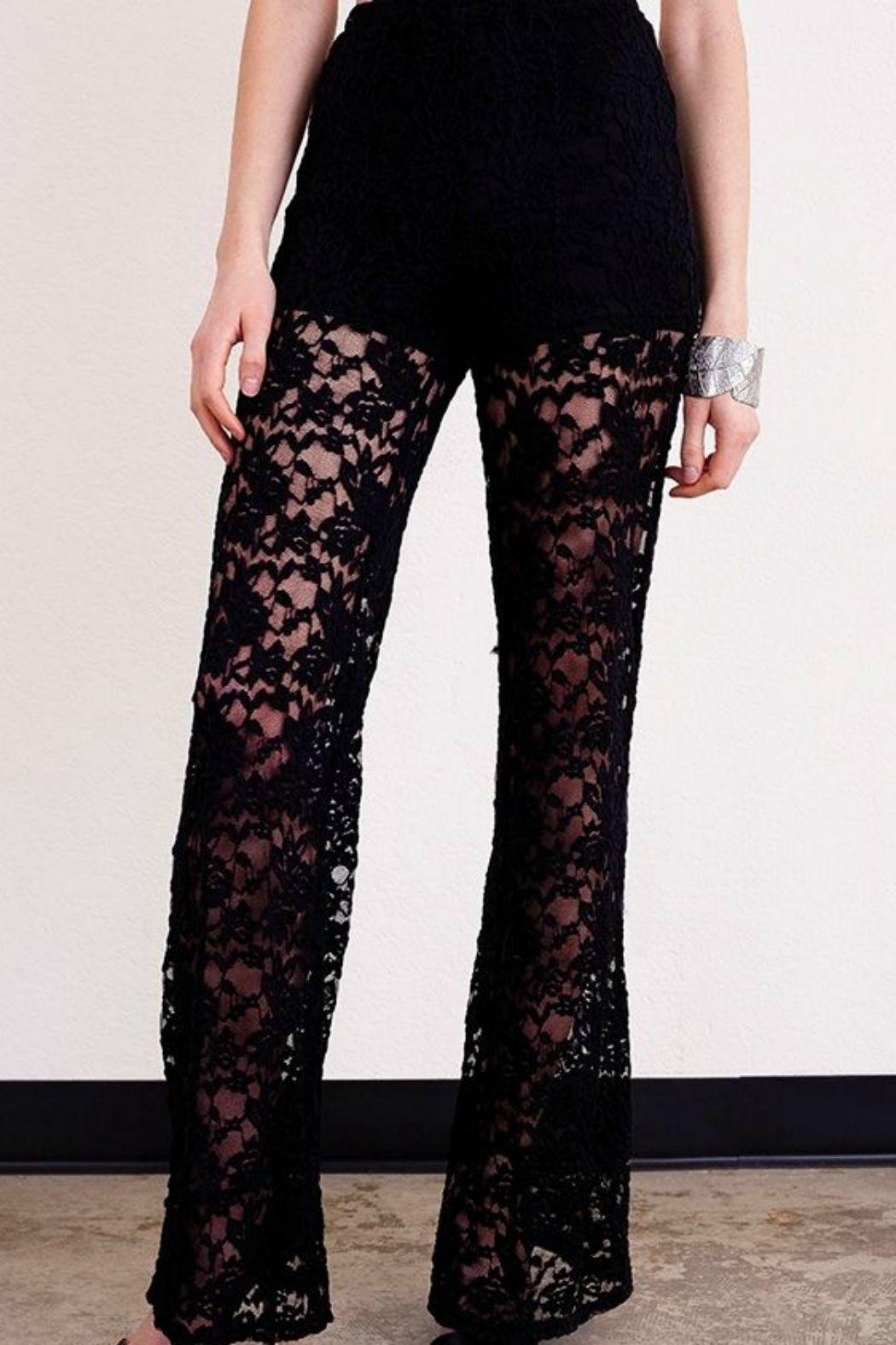 Umgee USA Black Lace Trouser - Front Full Image