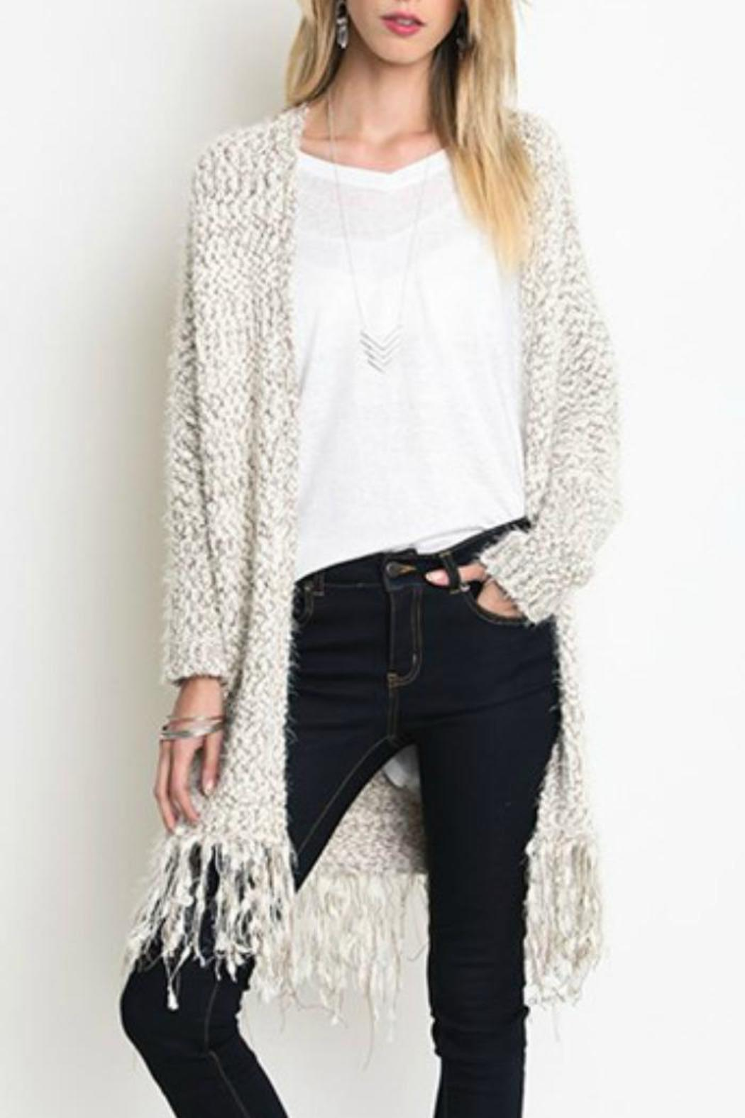Umgee USA Chunky Knit Cardigan - Back Cropped Image