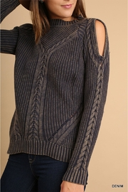 Umgee USA Cold Shoulder Sweater - Front cropped