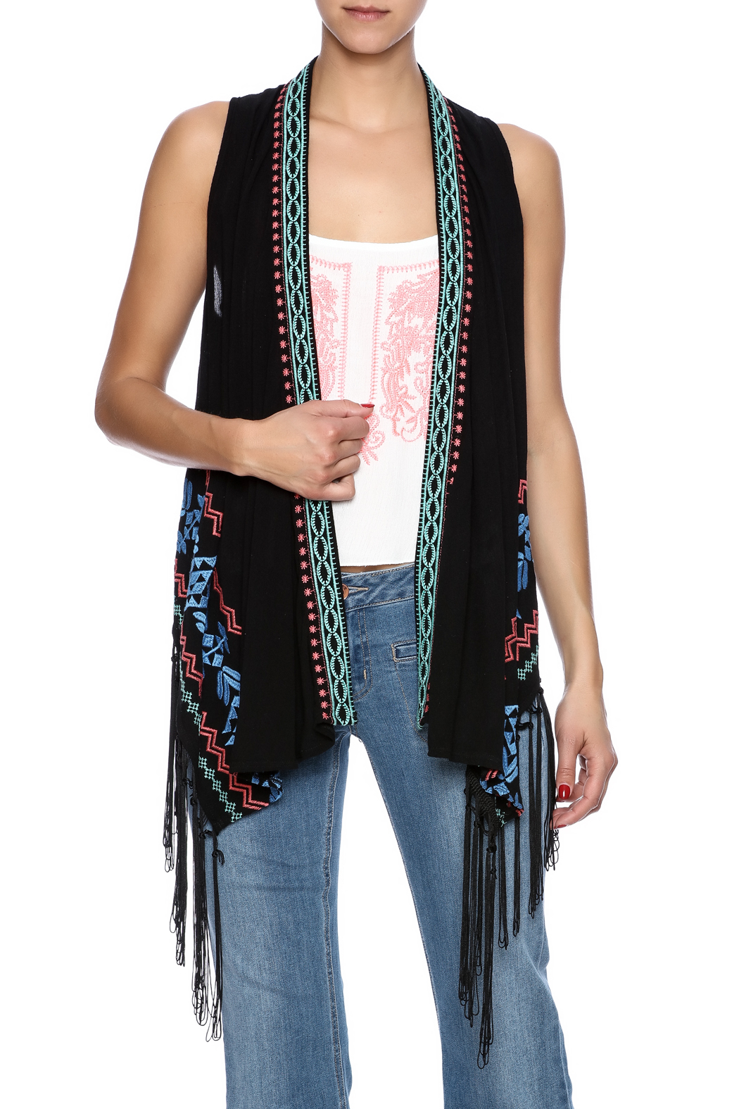 Umgee USA Embroidered Fringe Vest - Main Image