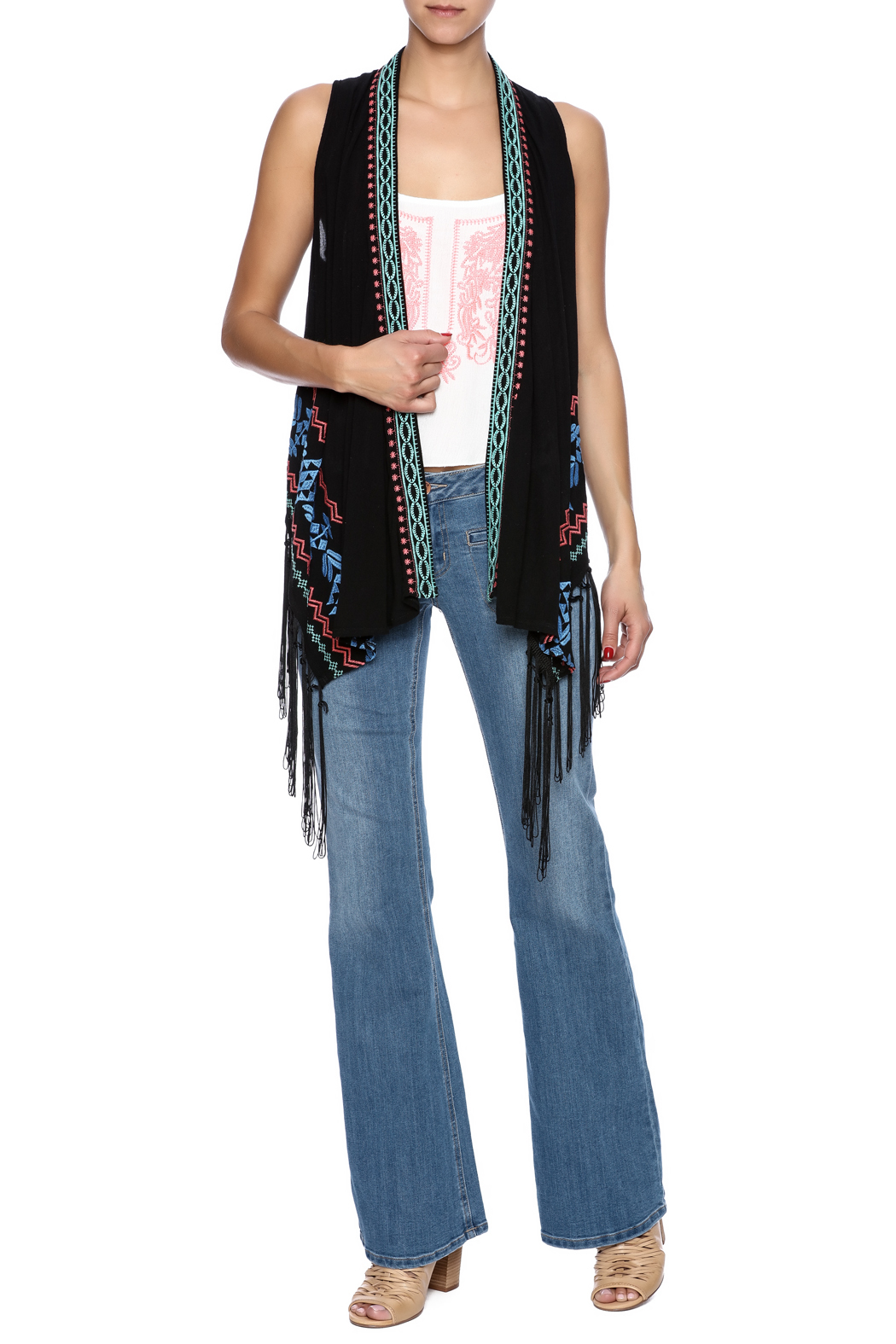 Umgee USA Embroidered Fringe Vest - Front Full Image