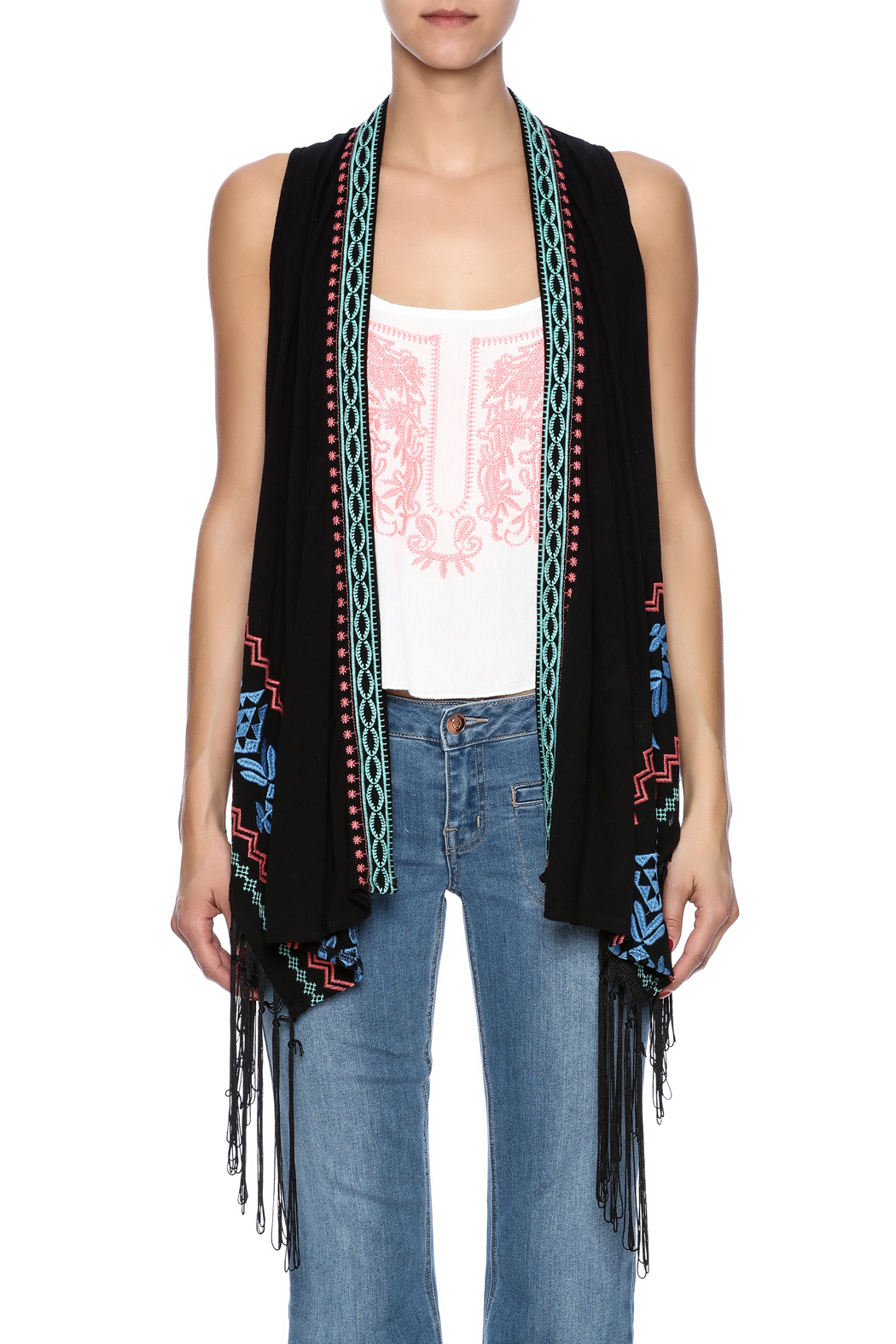 Umgee USA Embroidered Fringe Vest - Side Cropped Image