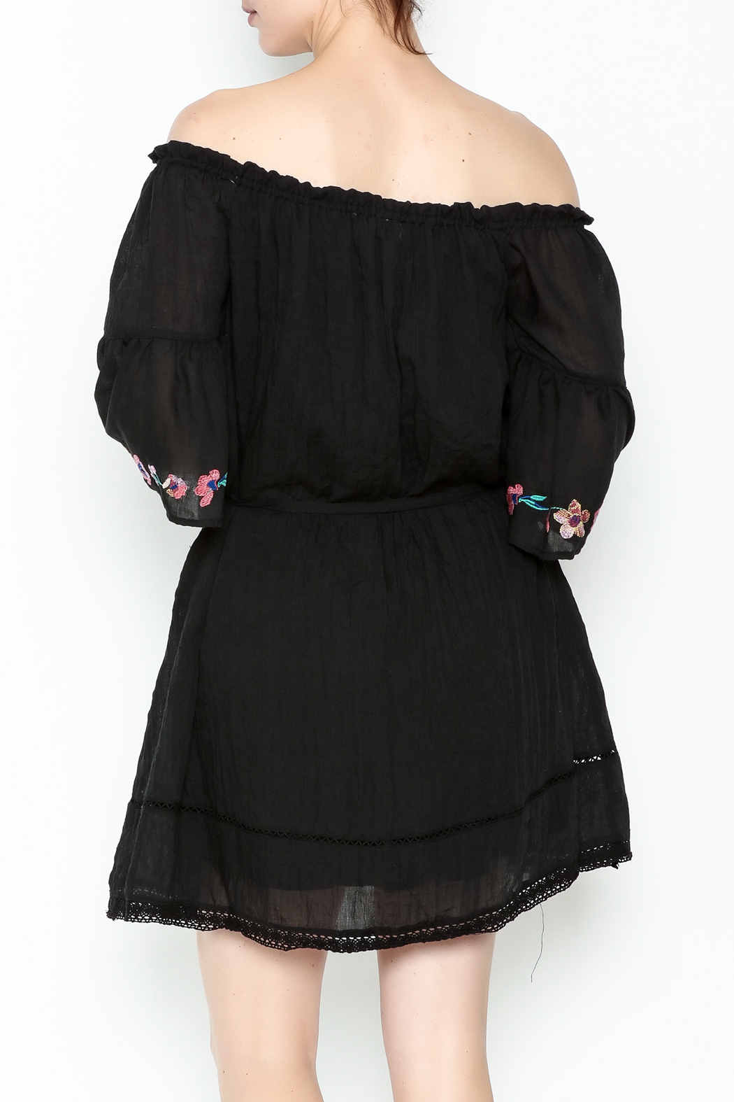 Umgee USA Embroidered Peasant Dress - Back Cropped Image