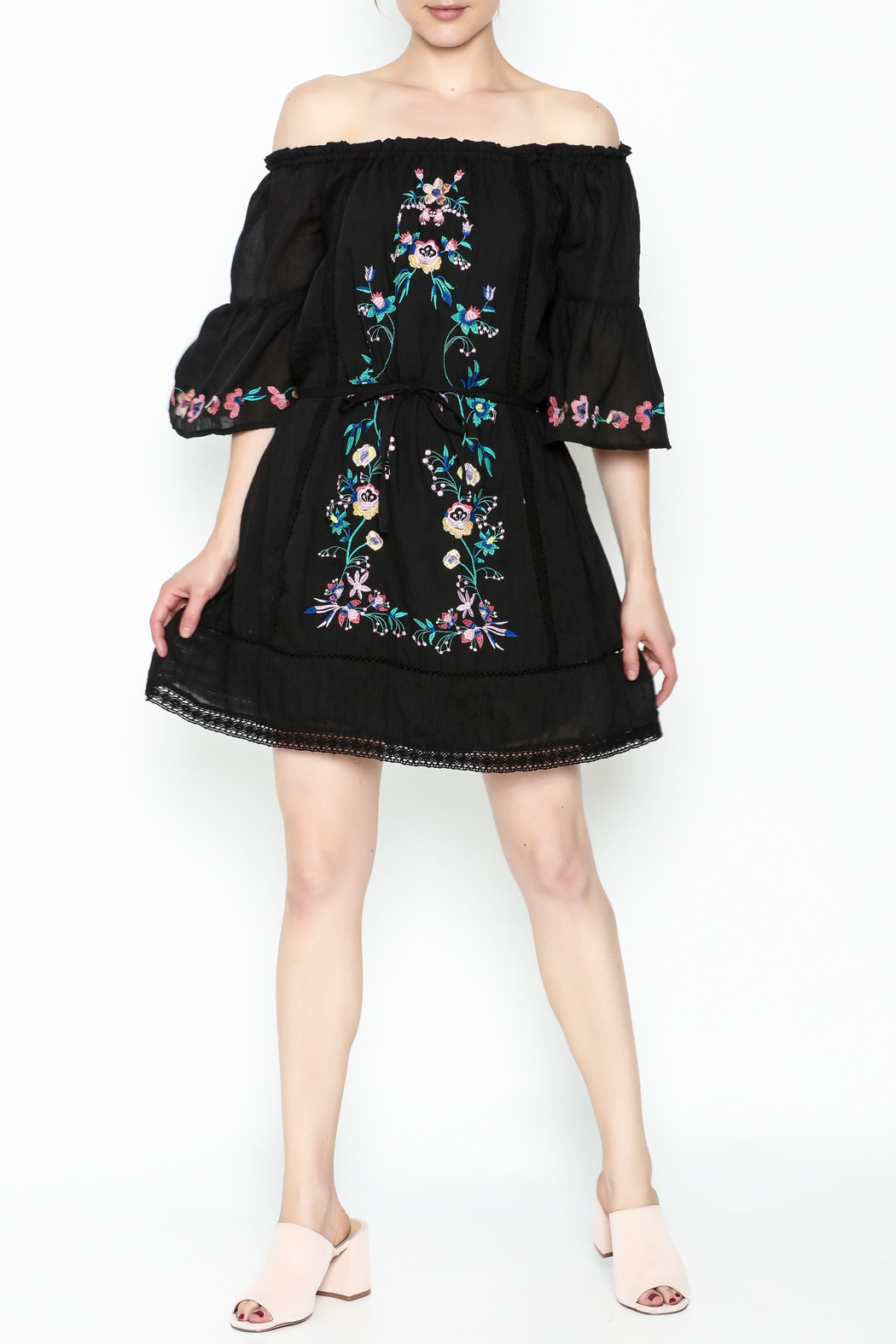 Umgee USA Embroidered Peasant Dress - Side Cropped Image