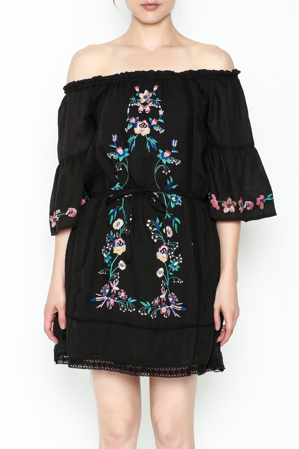 Umgee USA Embroidered Peasant Dress - Front Full Image