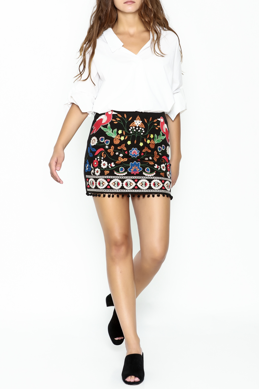 Umgee USA Embroidered Skirt - Side Cropped Image