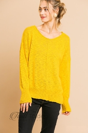 Umgee Exposed Hem Sweater - Front cropped
