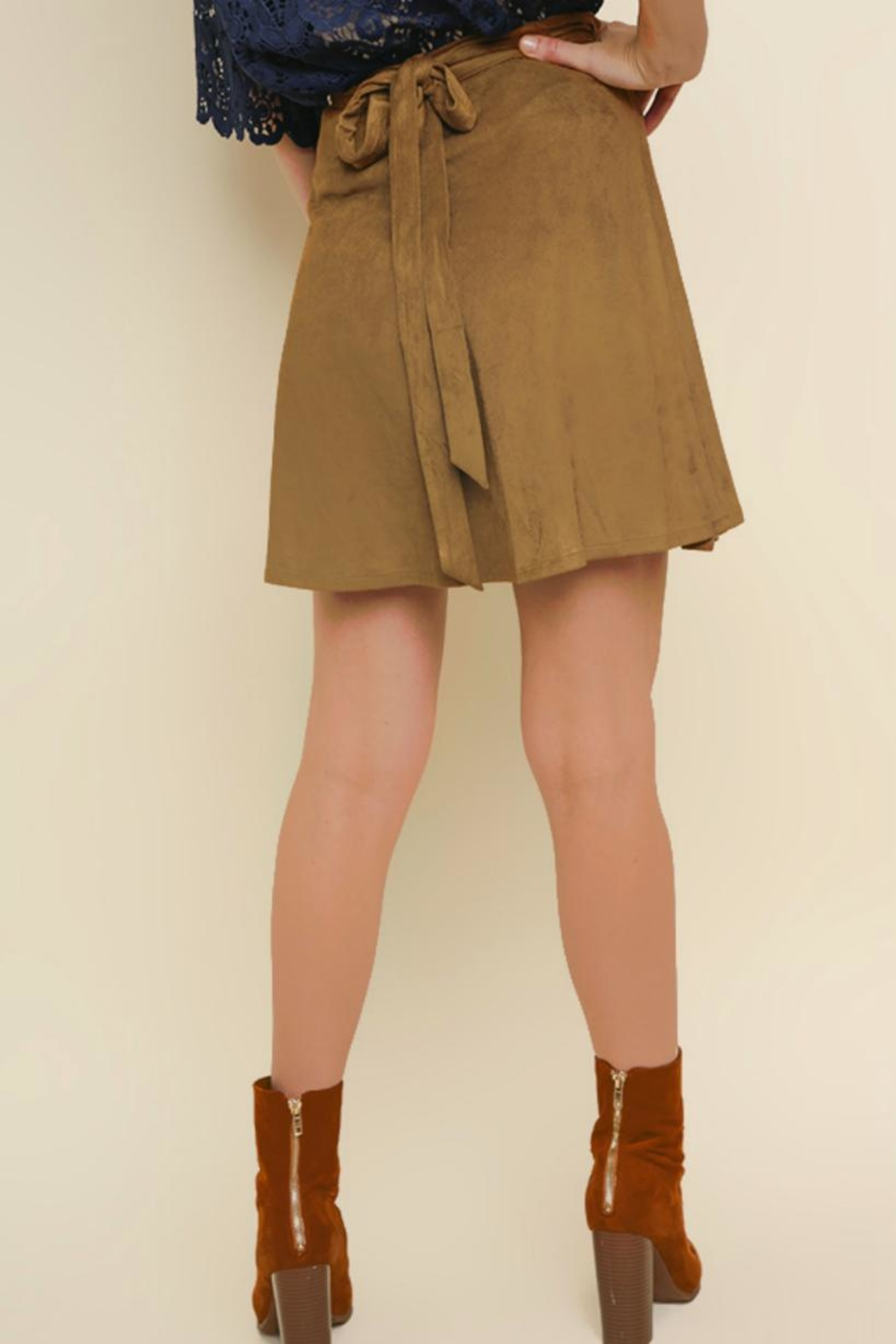 Umgee Faux-Suede Wrap Skirt - Front Full Image