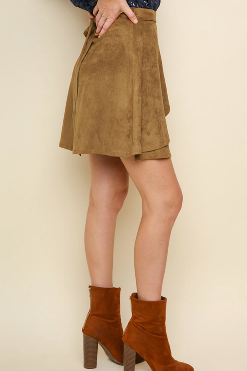 Umgee Faux-Suede Wrap Skirt - Side Cropped Image