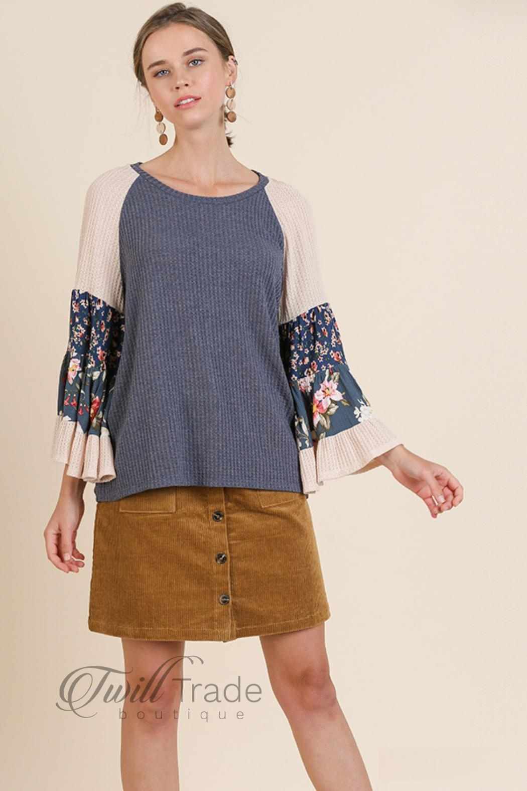 Umgee Floral Bell-Sleeve Top - Main Image