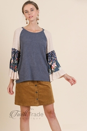 Umgee Floral Bell-Sleeve Top - Front cropped