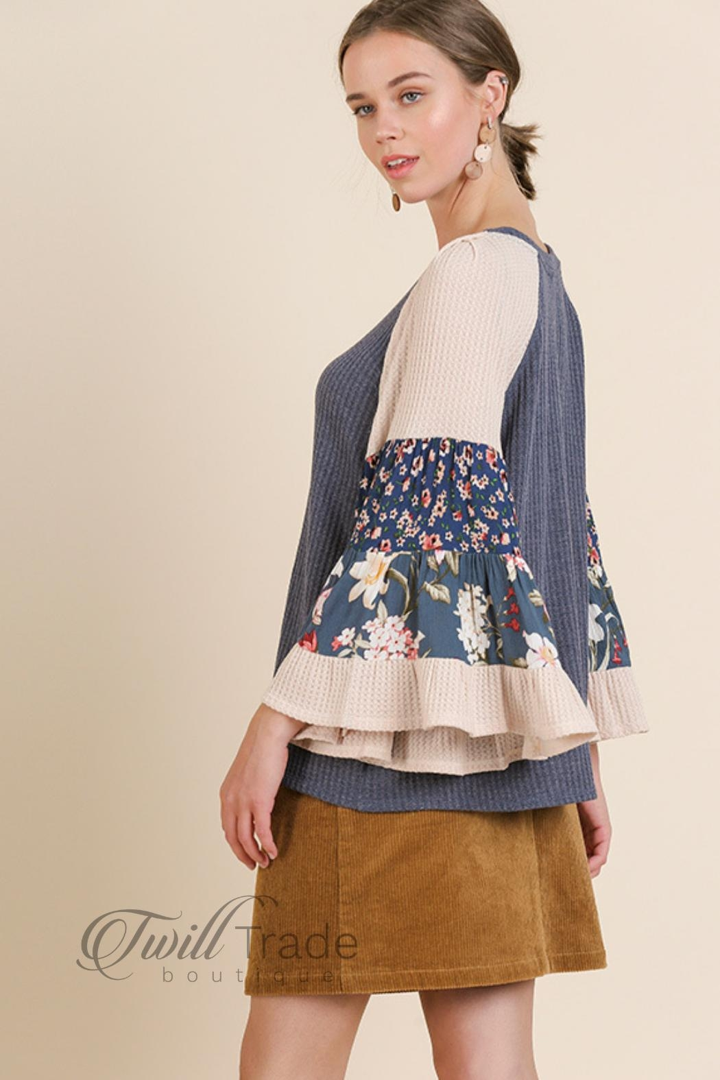 Umgee Floral Bell-Sleeve Top - Front Full Image