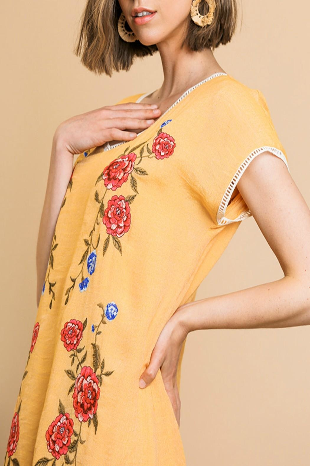 Umgee Floral Embroidered Dress - Back Cropped Image