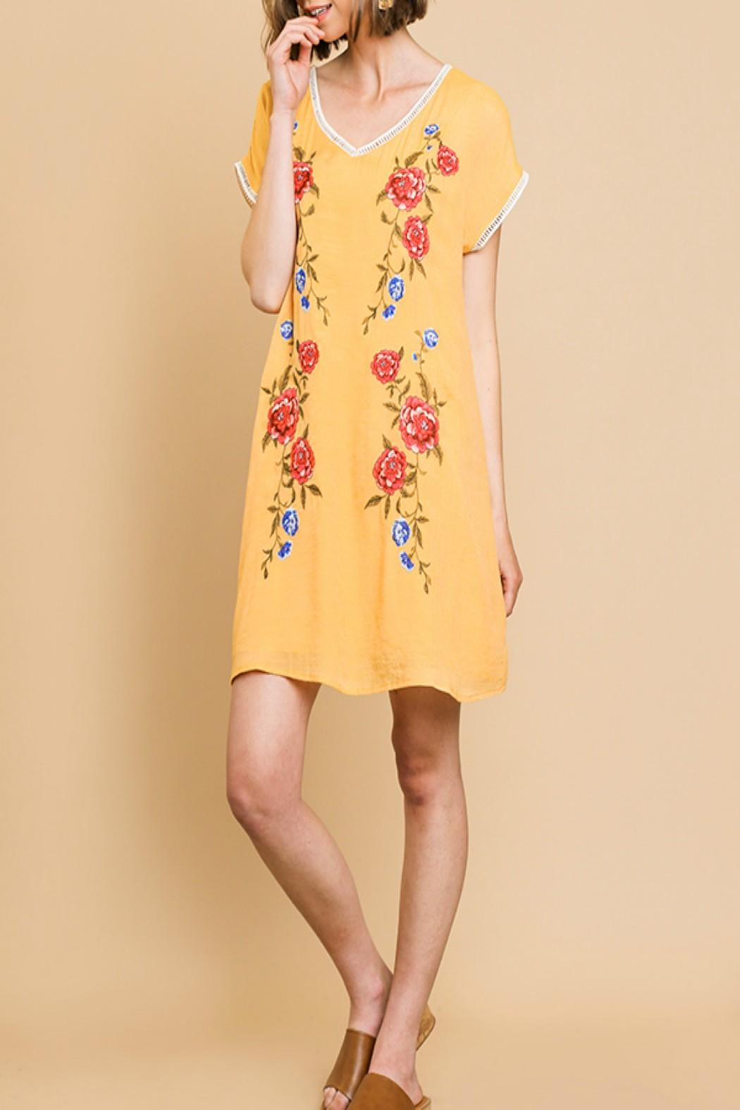 Umgee Floral Embroidered Dress - Front Cropped Image
