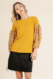 Umgee Floral Puff-Sleeve Top - Product Mini Image