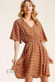 Umgee Floral Smocked Dress - Front cropped