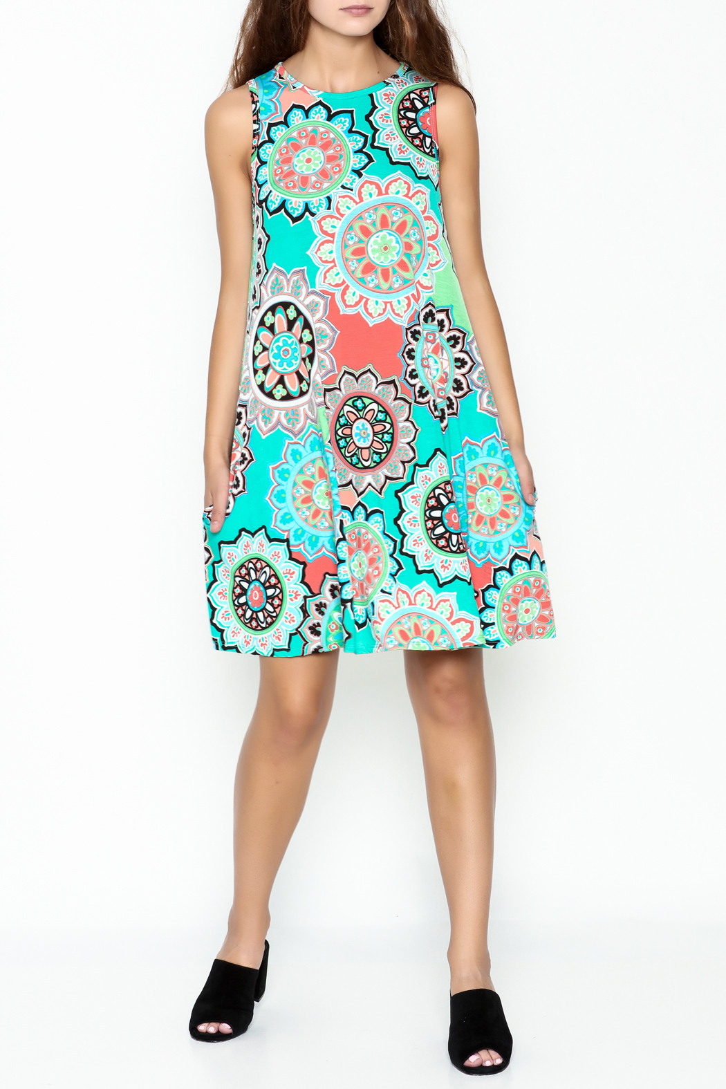 Umgee USA Floral Tunic Dress - Side Cropped Image