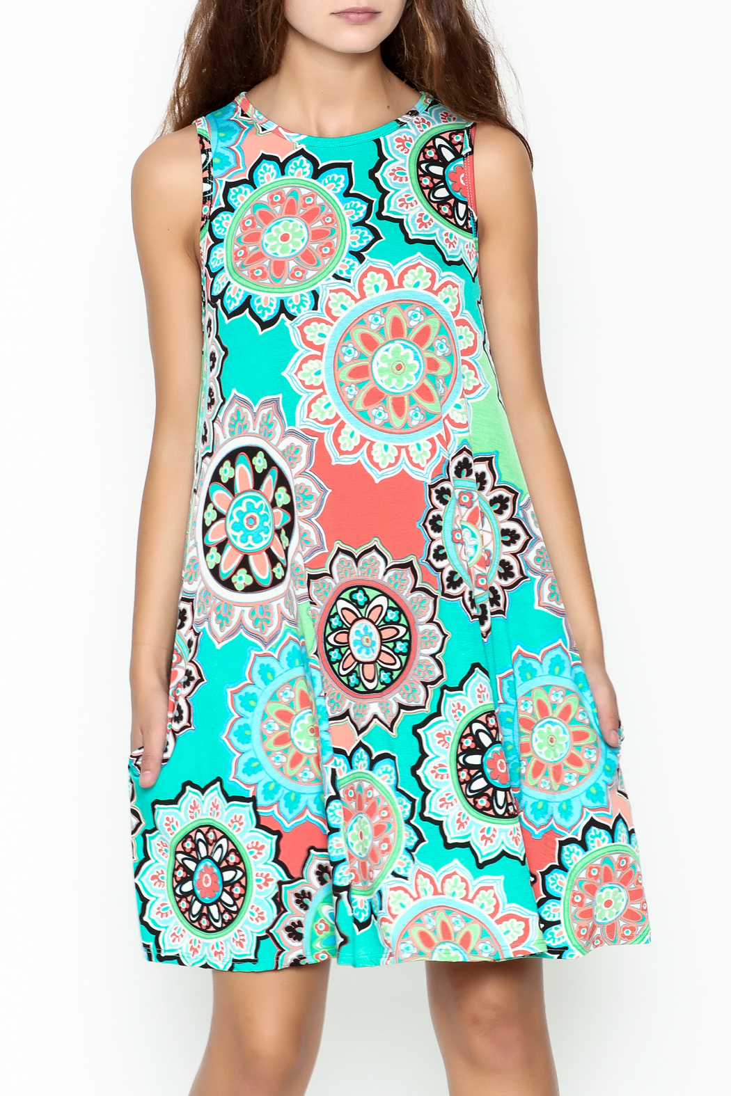 Umgee USA Floral Tunic Dress - Front Cropped Image