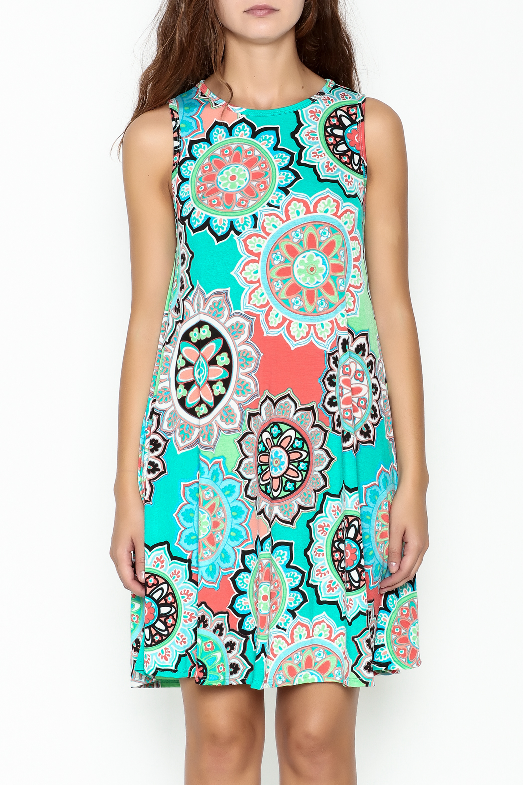 Umgee USA Floral Tunic Dress - Front Full Image