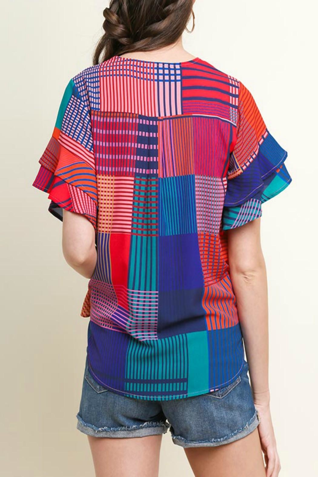 Umgee Geometric Mixed-Print Top - Front Full Image