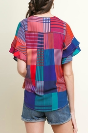 Umgee Geometric Mixed-Print Top - Front full body