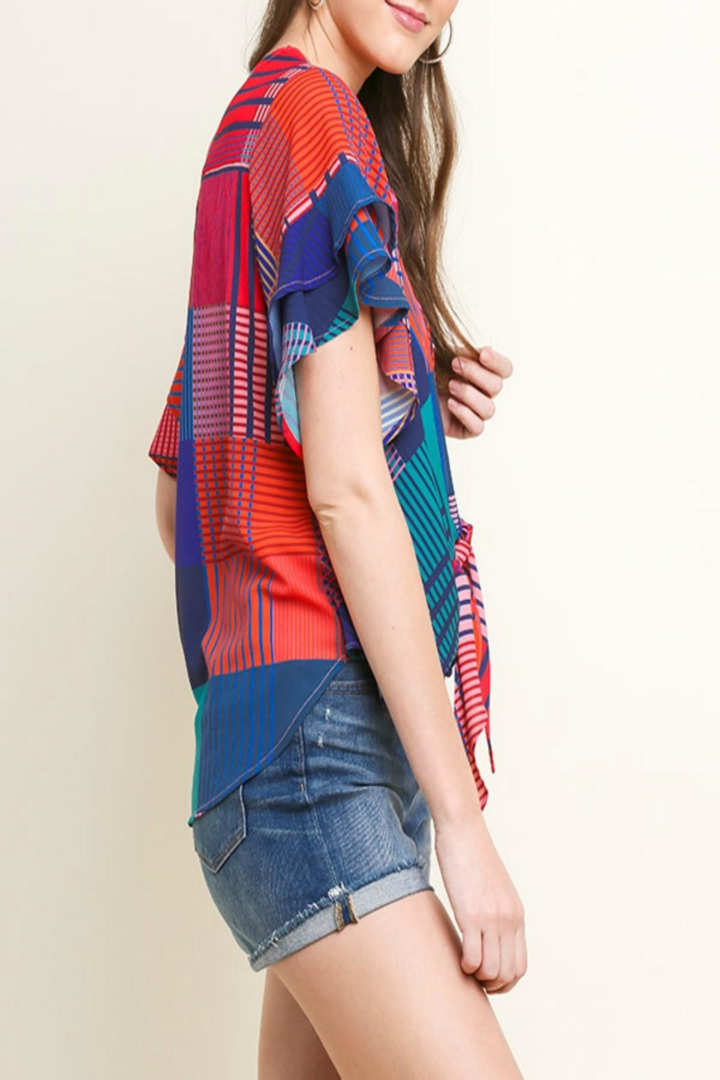 Umgee Geometric Mixed-Print Top - Side Cropped Image
