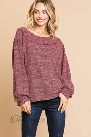 Umgee Heathered Knit Top - Front cropped