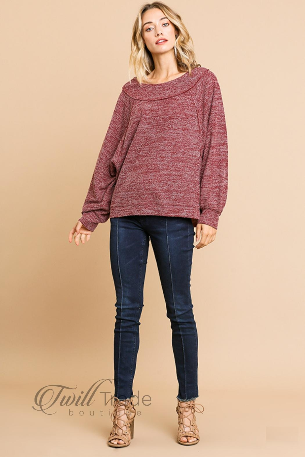 Umgee Heathered Knit Top - Side Cropped Image