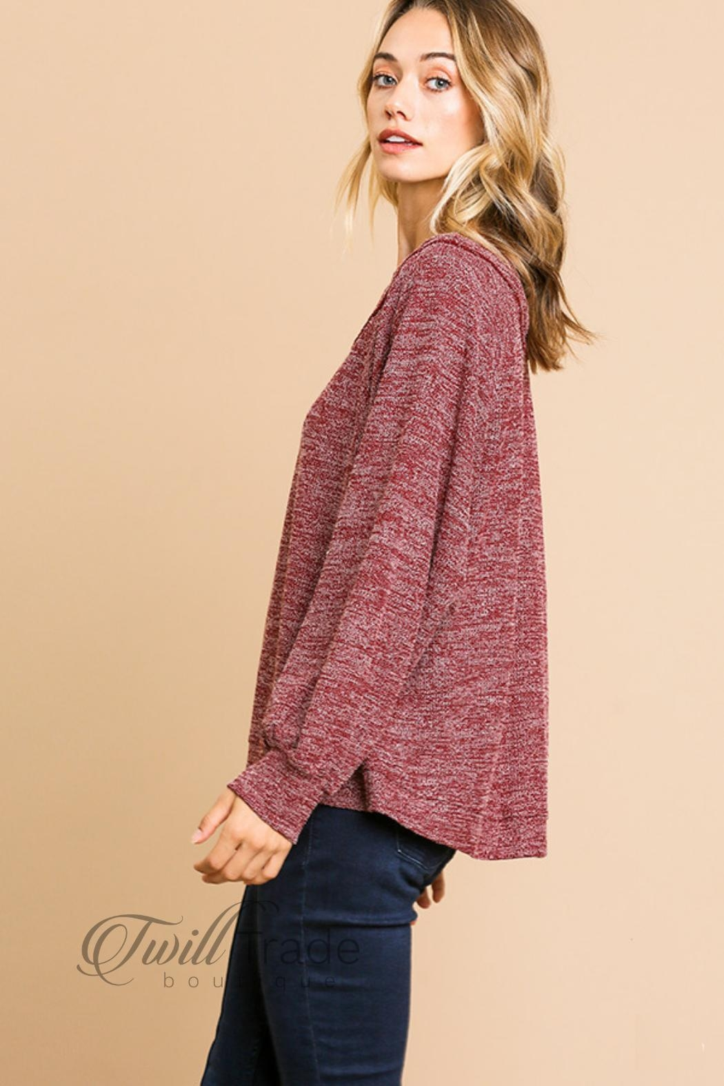 Umgee Heathered Knit Top - Front Full Image