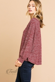 Umgee Heathered Knit Top - Front full body