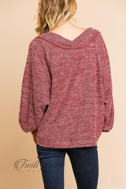 Umgee Heathered Knit Top - Back cropped