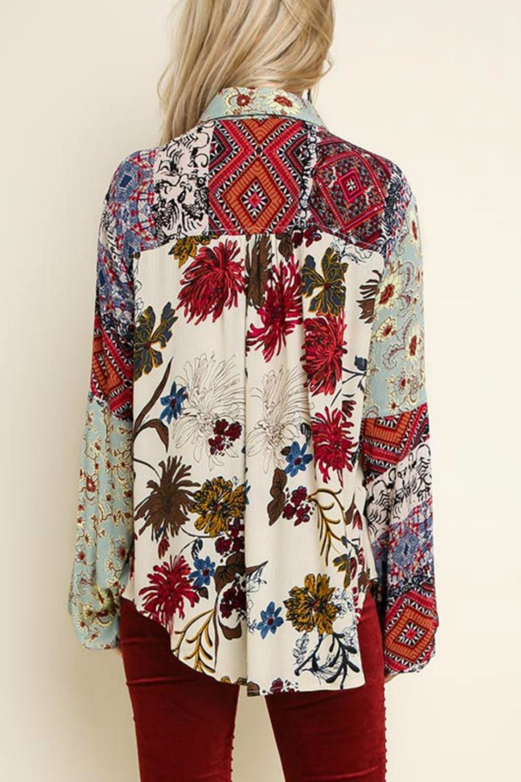 Umgee Multi-Floral Button-Up Top - Front Full Image