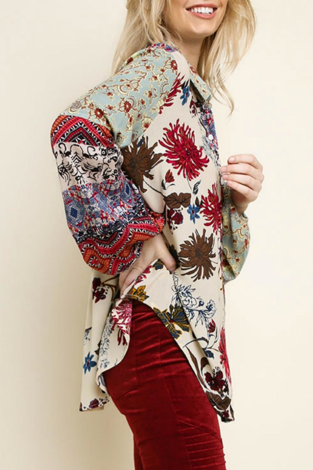 Umgee Multi-Floral Button-Up Top - Side Cropped Image