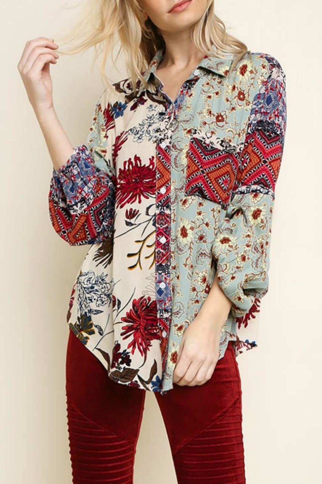 Umgee Multi-Floral Button-Up Top - Main Image